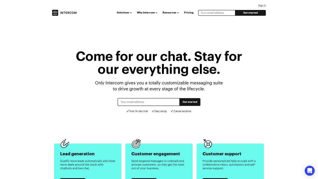 Website Screenshot Intercom